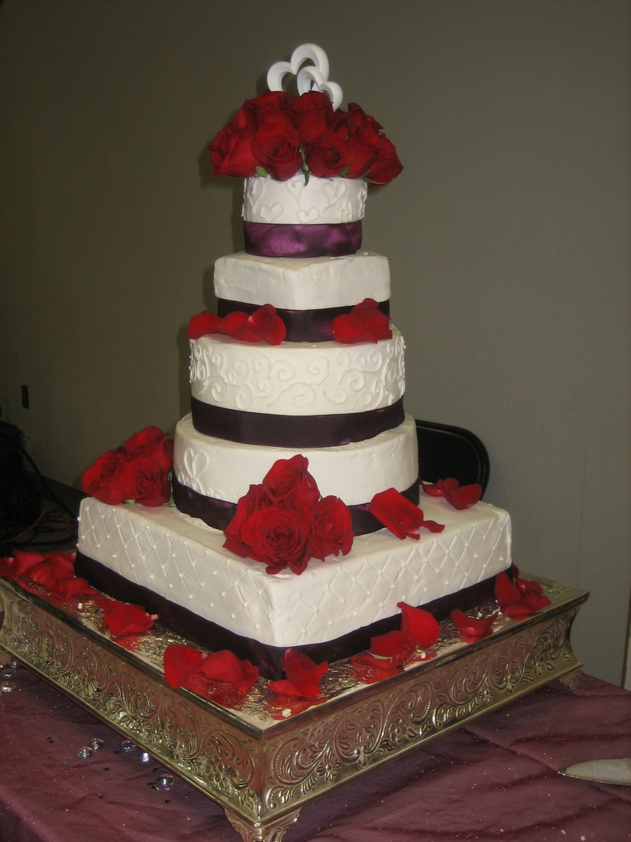 Plum & Red Wedding on Cake Central