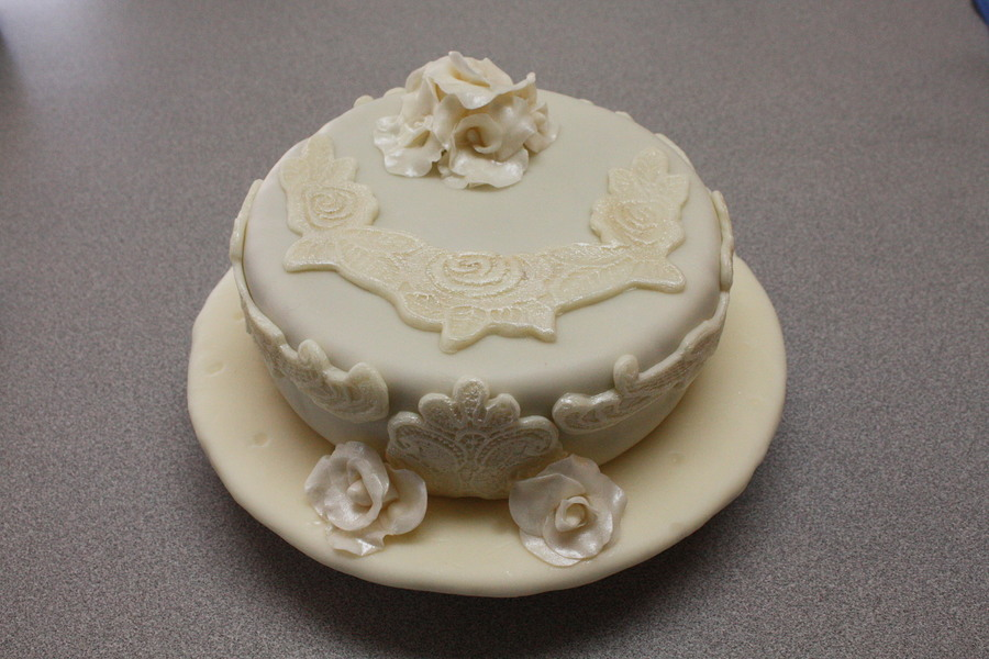 Lace Applique Personal Bridal Cake  on Cake Central