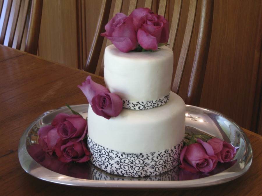 Damask And Roses Baptism Cake  on Cake Central