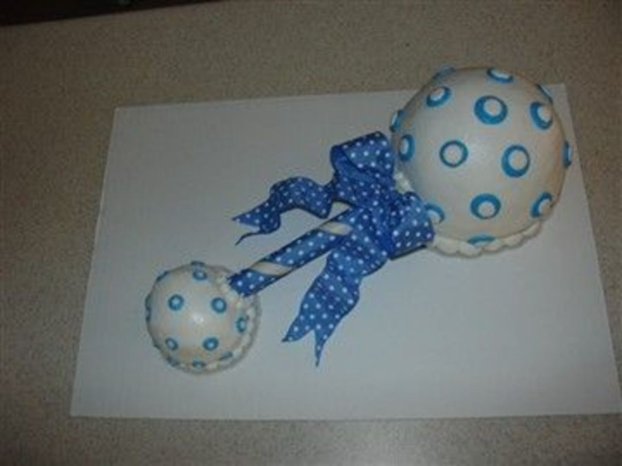Blue & White Baby Rattle on Cake Central