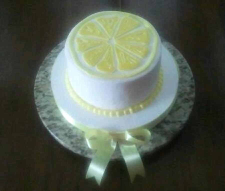 Lemon Cake For My Sil Who Loves Lemon Patterned After A Set Of Lemon Plates I Have Obviously The Flavor Is Lemon Too O on Cake Central