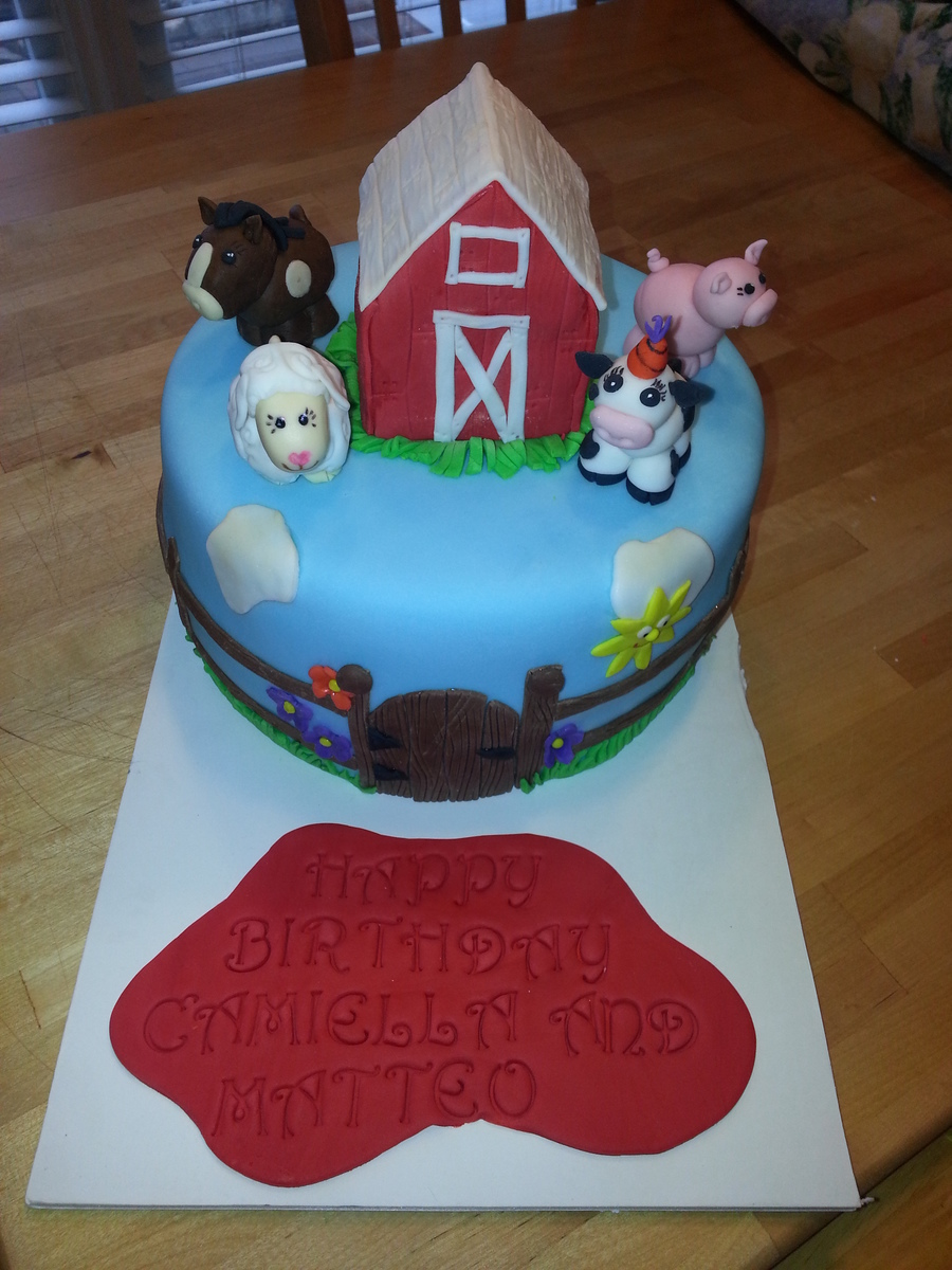 8 In Cake Barn Made Our Of Rice Krispy Treats And Covered In Fondant Animals Made From Fondant Thanks For Looking on Cake Central