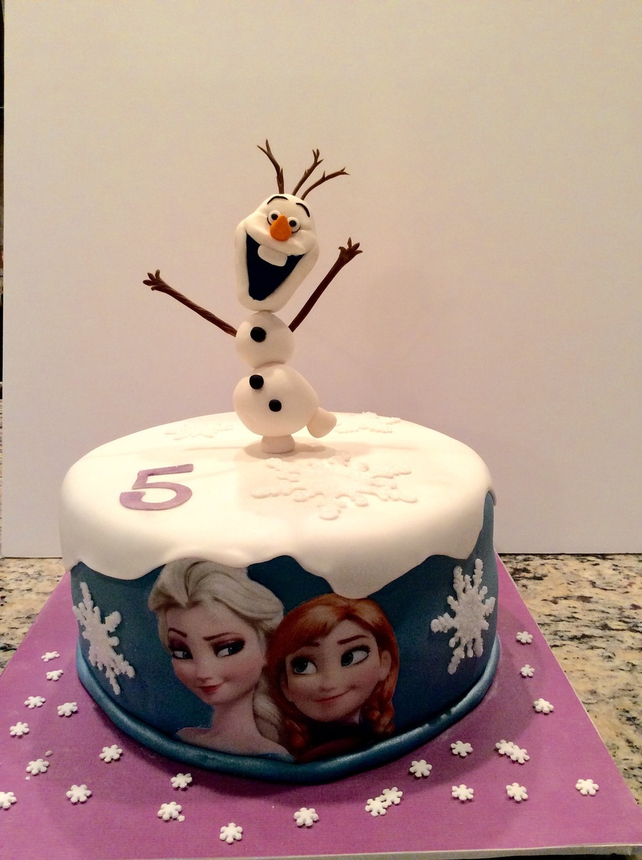 Frozen Birthday Cake With Olaf Ana And Elsa Cakecentral