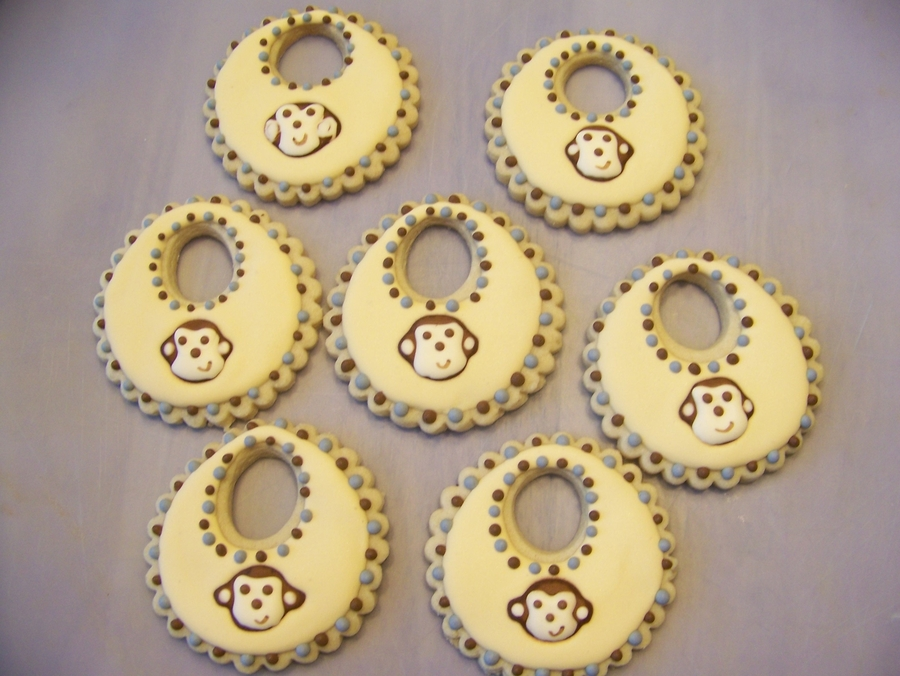 Baby Shower Cookie Images ~ Monkey face bib baby shower cookies cakecentral