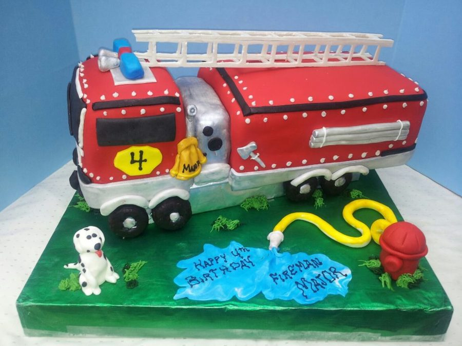 3D Firetruck Cake Covered In Mmf Ladder Is Gumpaste And Tires Are Chocolate Donuts All Other Is Mmf Tfl on Cake Central