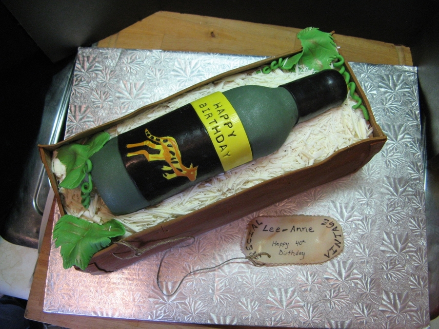 Wine Bottle In Crate  on Cake Central