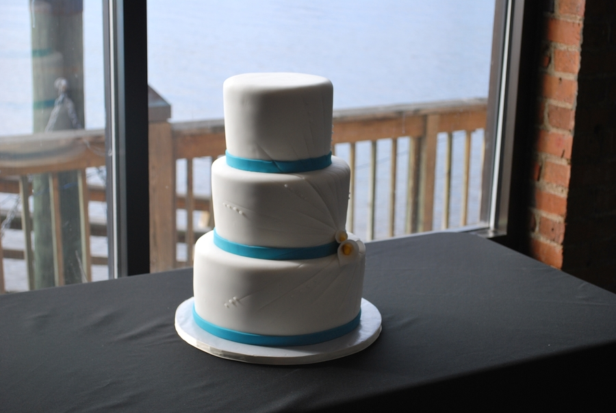 White And Teal With Burst on Cake Central