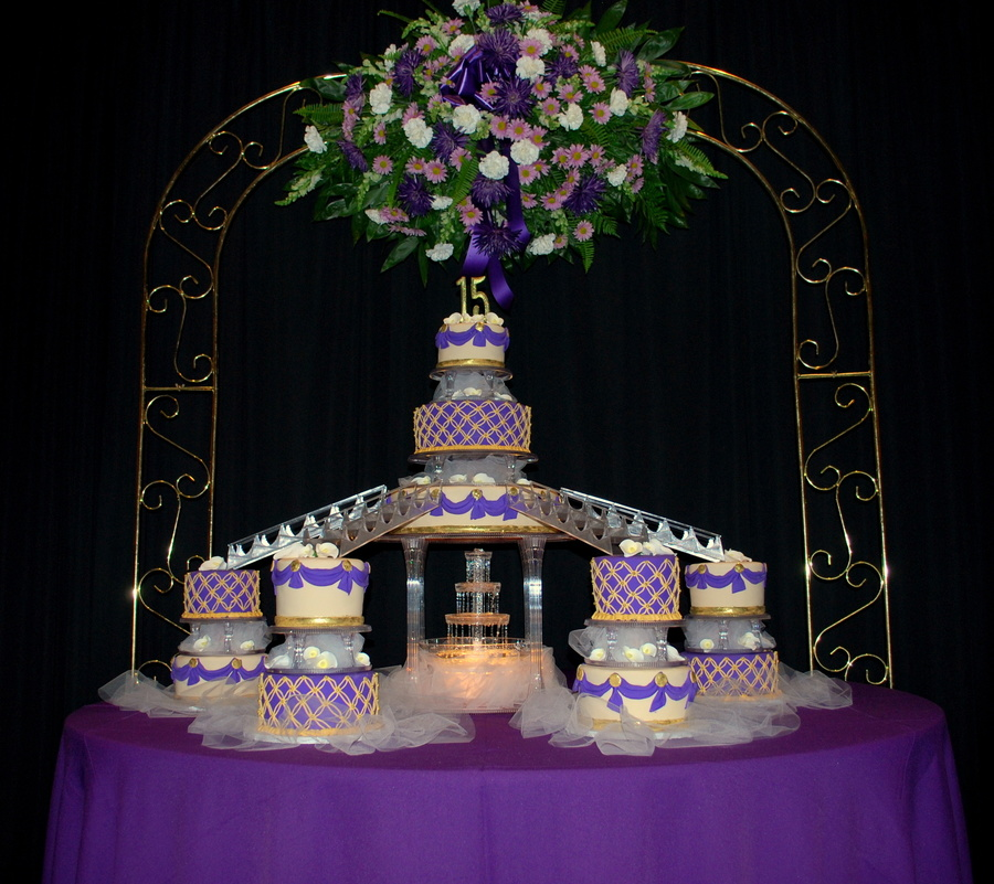 Purple Gold And Ivory Q Cake CakeCentralcom