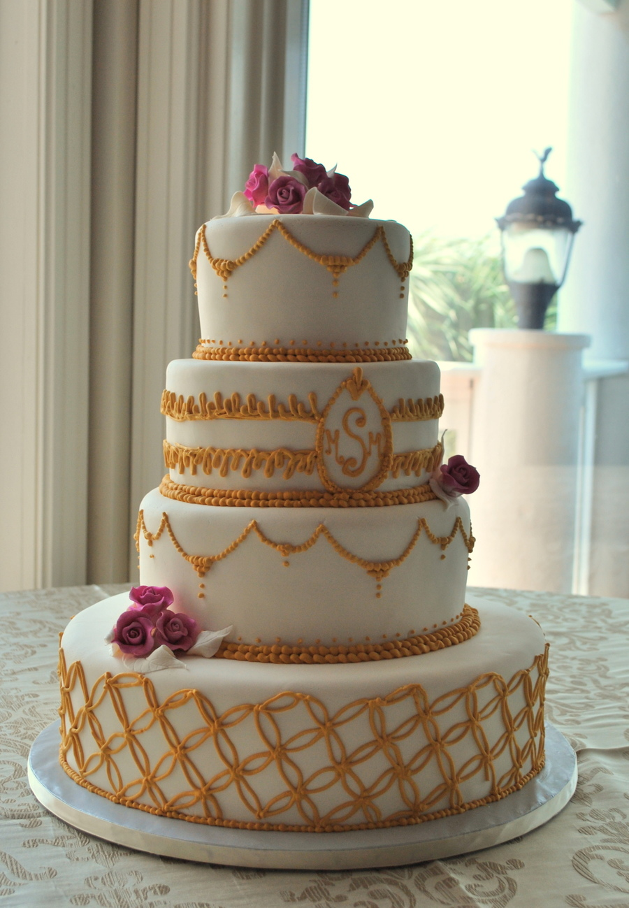 Elegant Gold And White on Cake Central