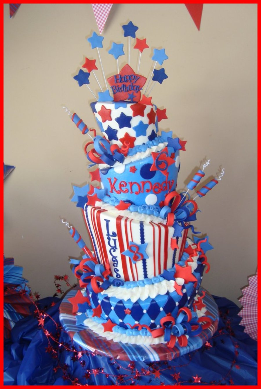 4Th Of July Cake For My Kiddos Combined Birthday Party on Cake Central