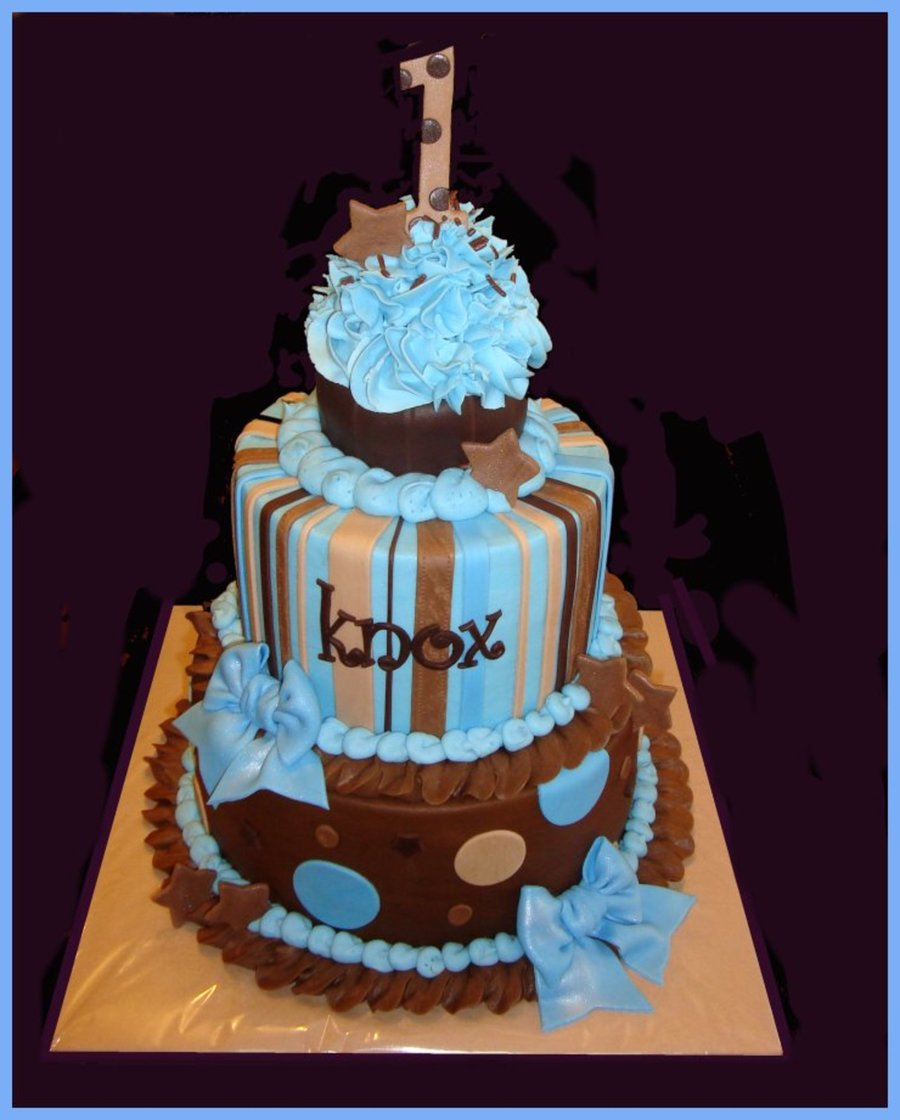 Brown & Blue 1St Birthday Cake With Detachable Smash Cake Cupcake on Cake Central