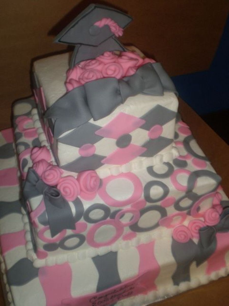Pink And Grey Grad Cake on Cake Central