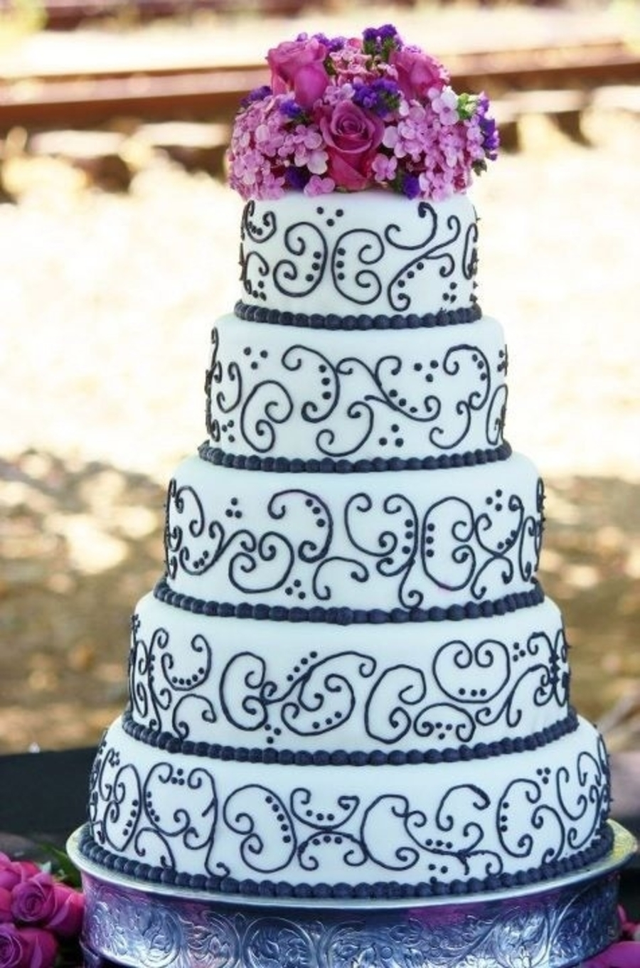 Black And White W/ Purple Wedding Cake - CakeCentral.com