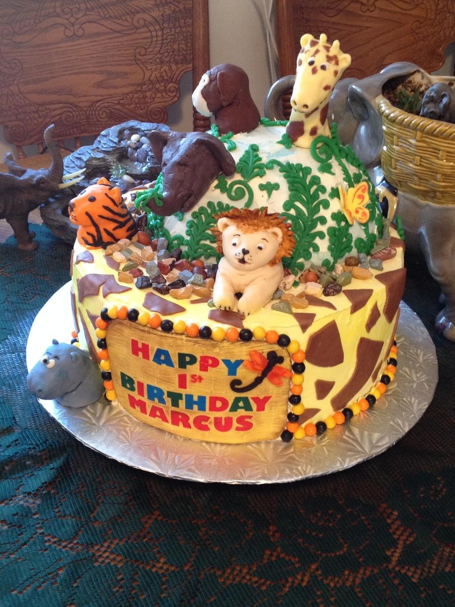 Wondrous Jungle Theme Birthday Cake Cakecentral Com Funny Birthday Cards Online Inifofree Goldxyz