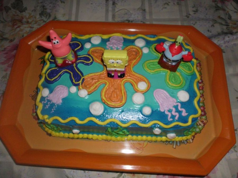 Marble Cake With Buttercream And Royal Icing Spongebob Figurines Bought At Walmart