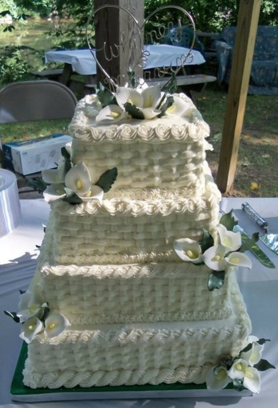 Square Basketweave Wedding Cake on Cake Central