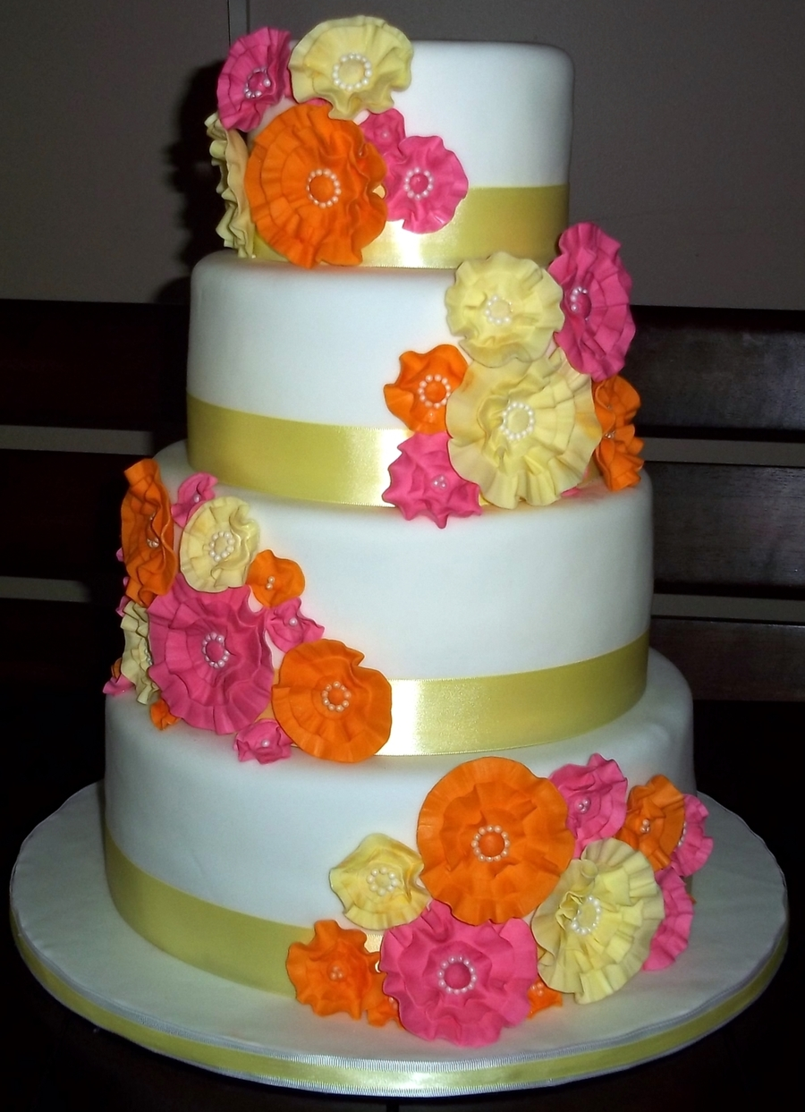 Orange And Pink Wedding  on Cake Central