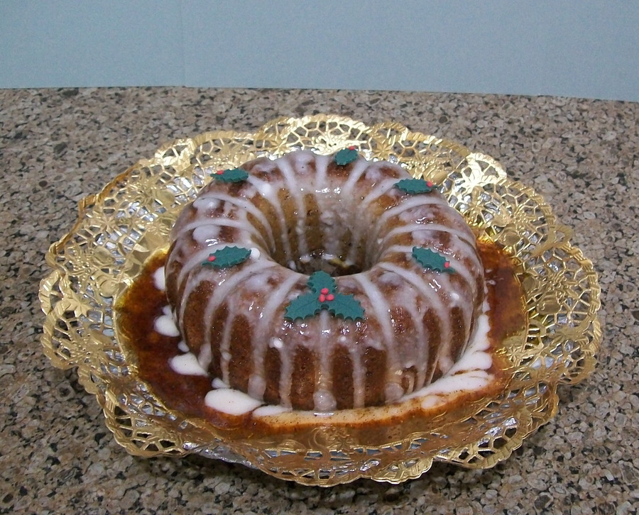 Cinnamon Cake With Cinnamon Syrup And Glaze Holly Leaves Are Fondant on Cake Central