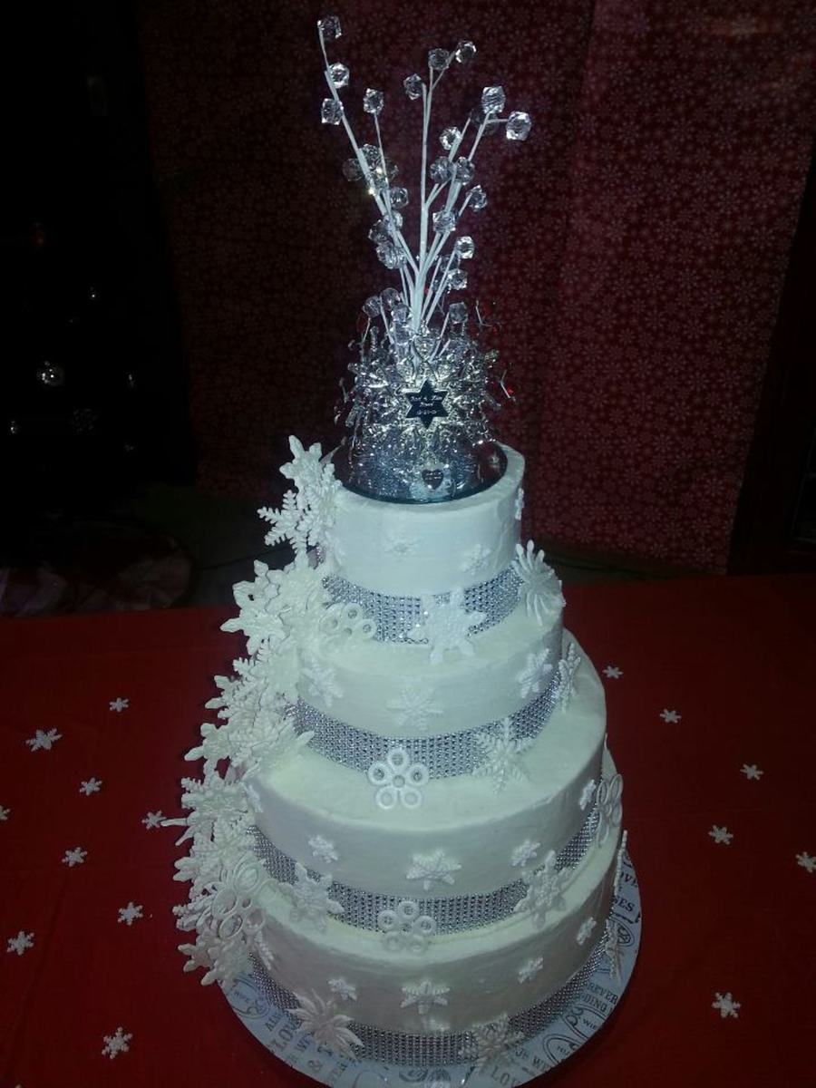 Four Tier Nine Layer White And Chocolate Cake Buttercream Filling With Buttercream Frosting Gumpaste Snowflakes Silver Cloth Mesh Rib on Cake Central