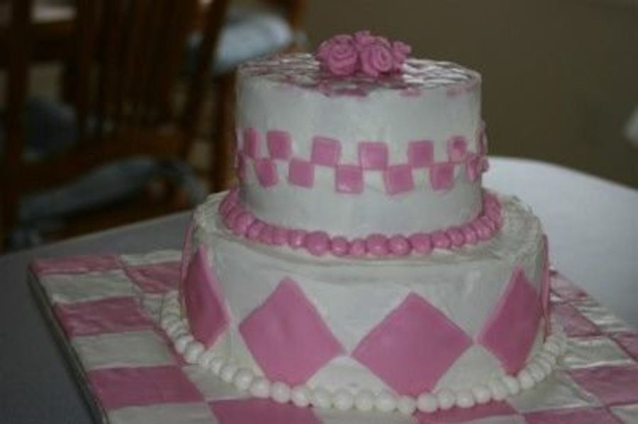Pink Check Birthday Cake on Cake Central
