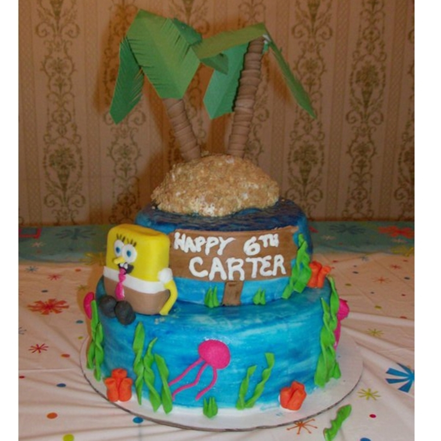 Spongebob Cake With Island  on Cake Central