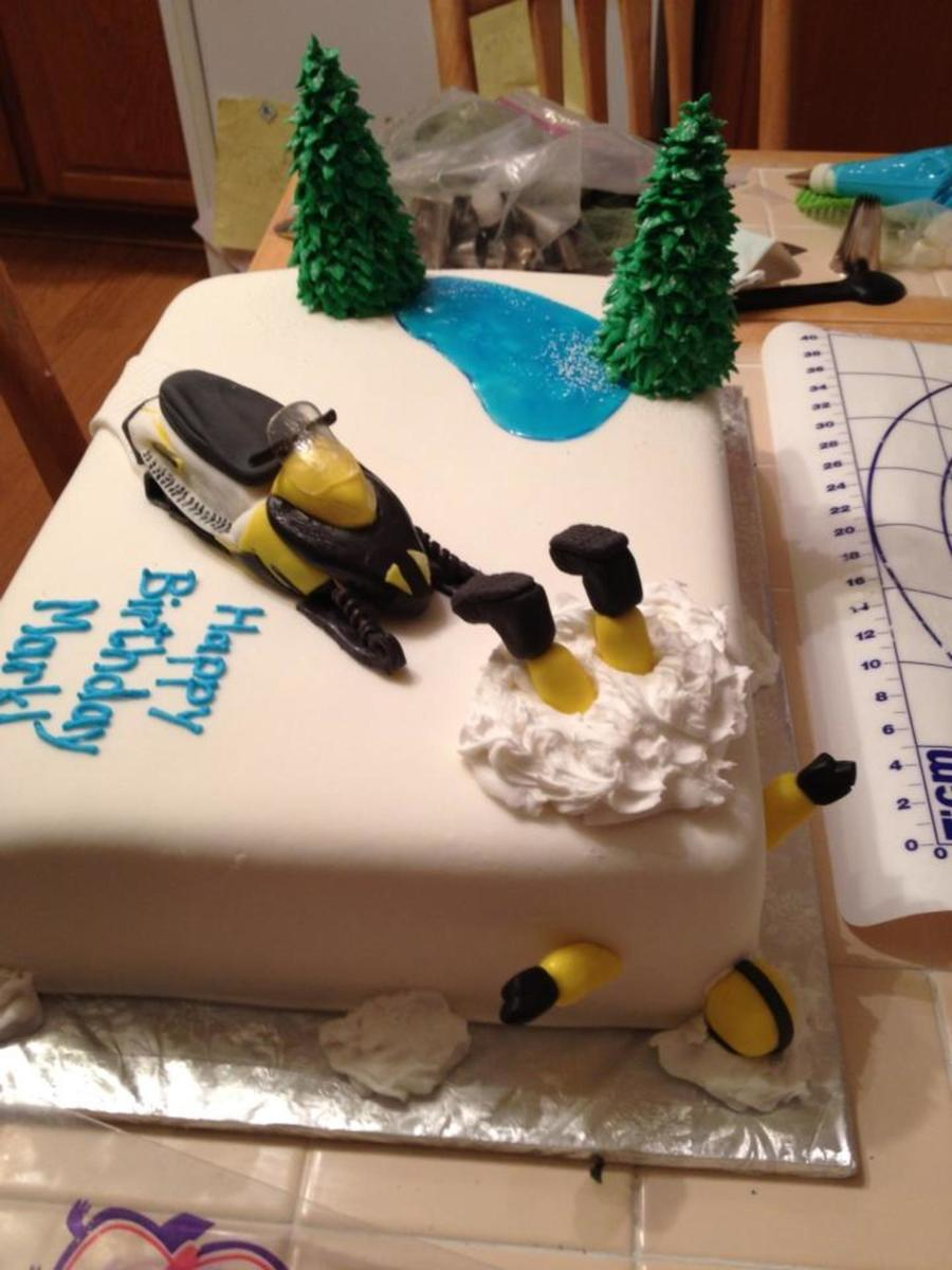 Snowmobile Accident Cake For 50th Birthday Cakecentral Com