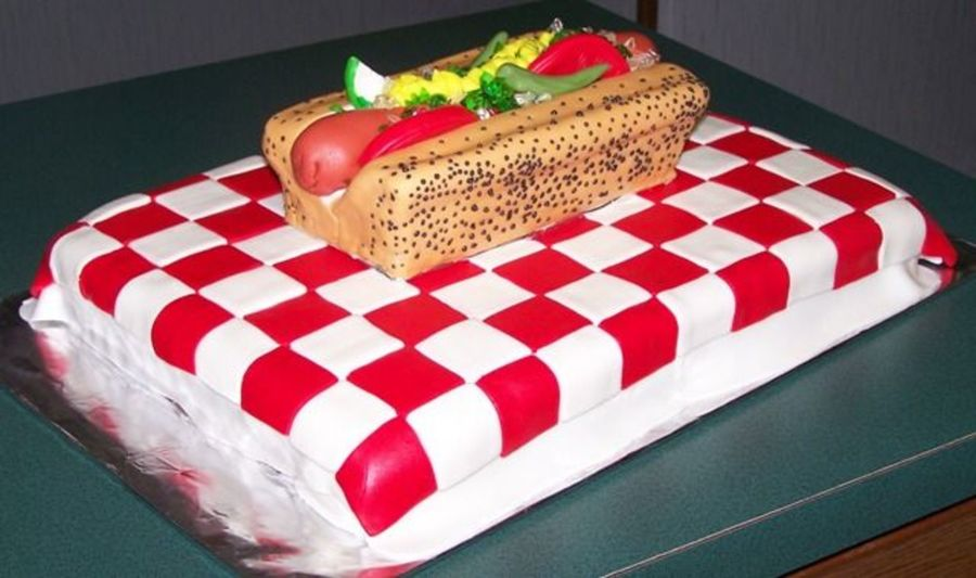 Birthday Cake With Hot Dogs