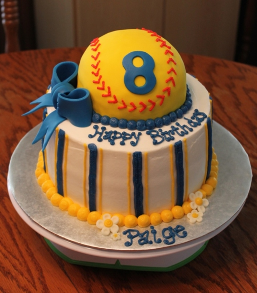 Softball Birthday Cake on Cake Central