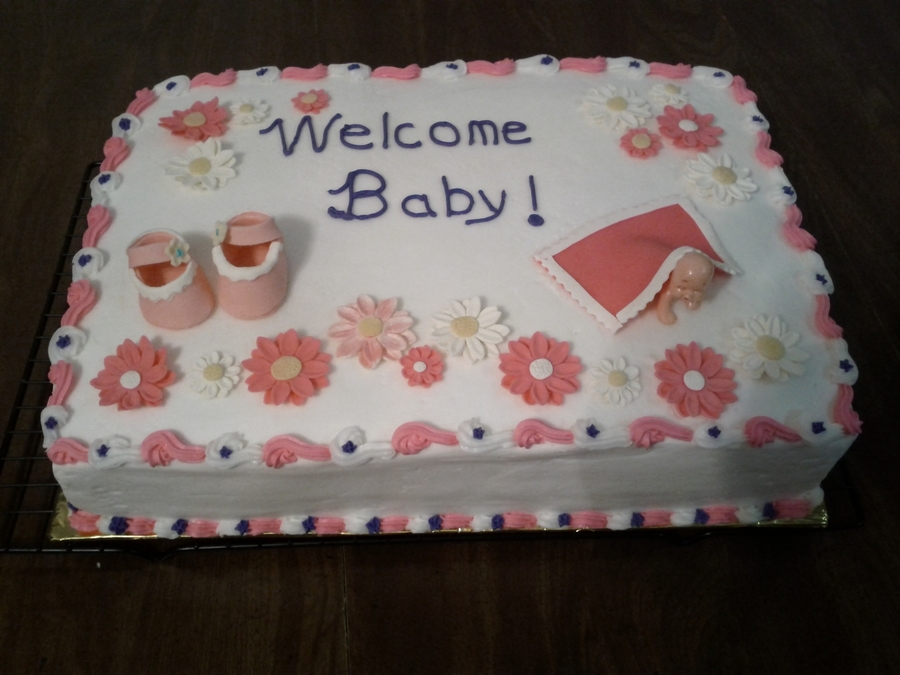 Baby Shower With Pink And White Dasies And Booties on Cake Central