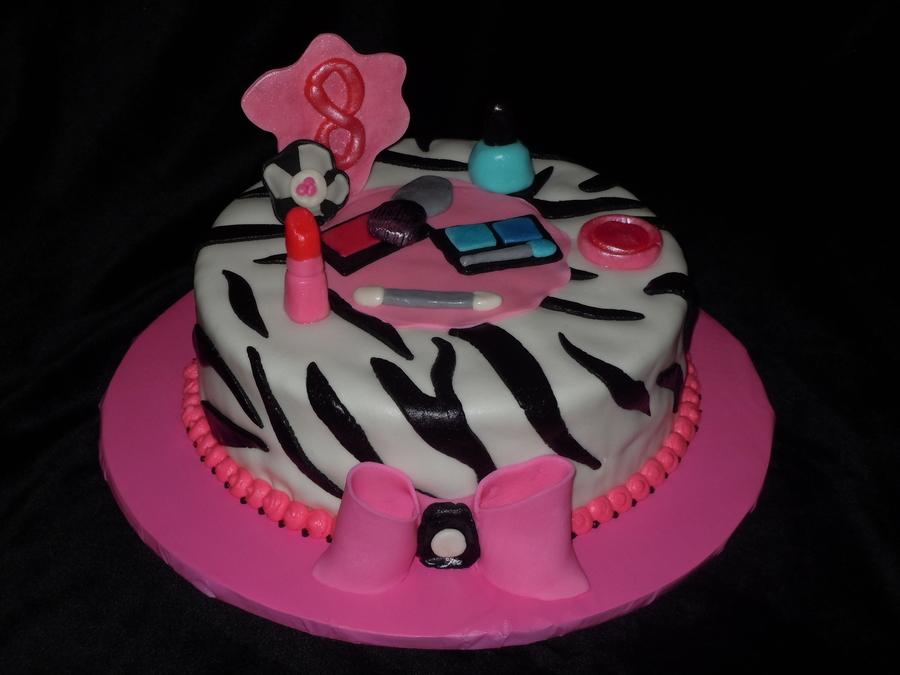Girly Makeupzebra Stripe Cake CakeCentralcom
