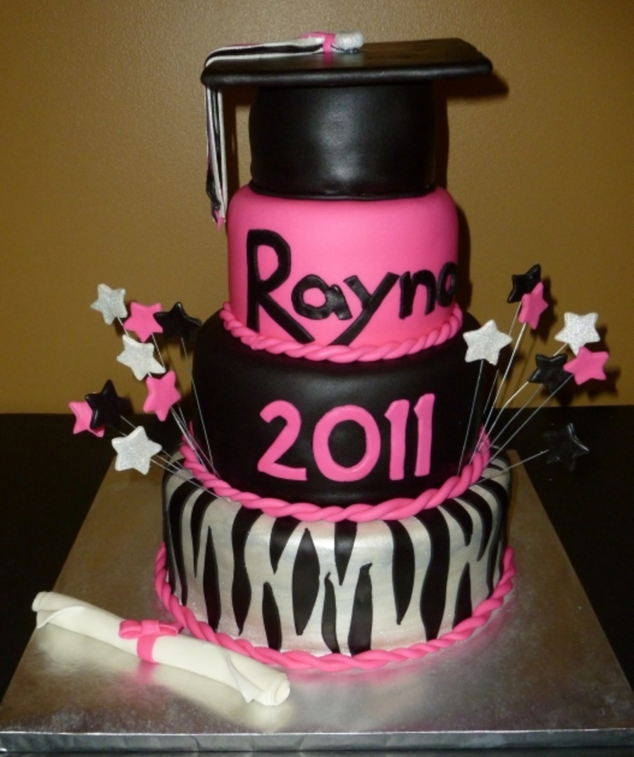Hot Pink With Zebra Stripes & Stars on Cake Central