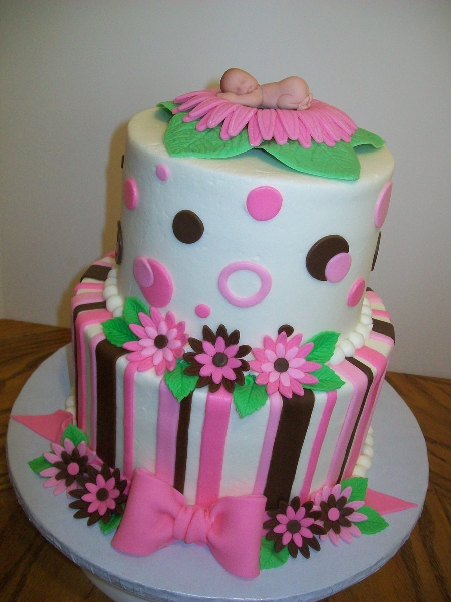 Pink And Brown Baby Shower on Cake Central