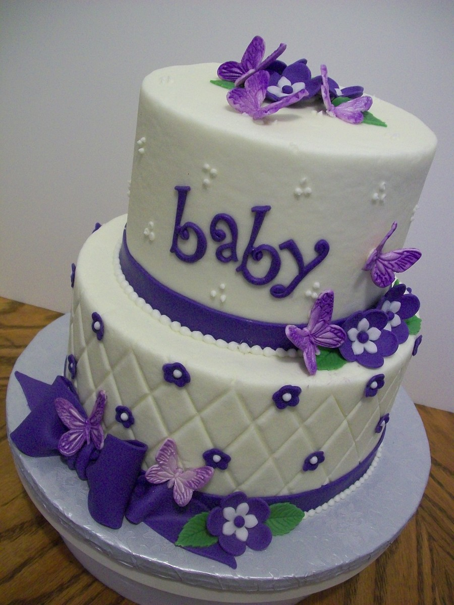 Baby Shower Cakes In Lavender Gold And White