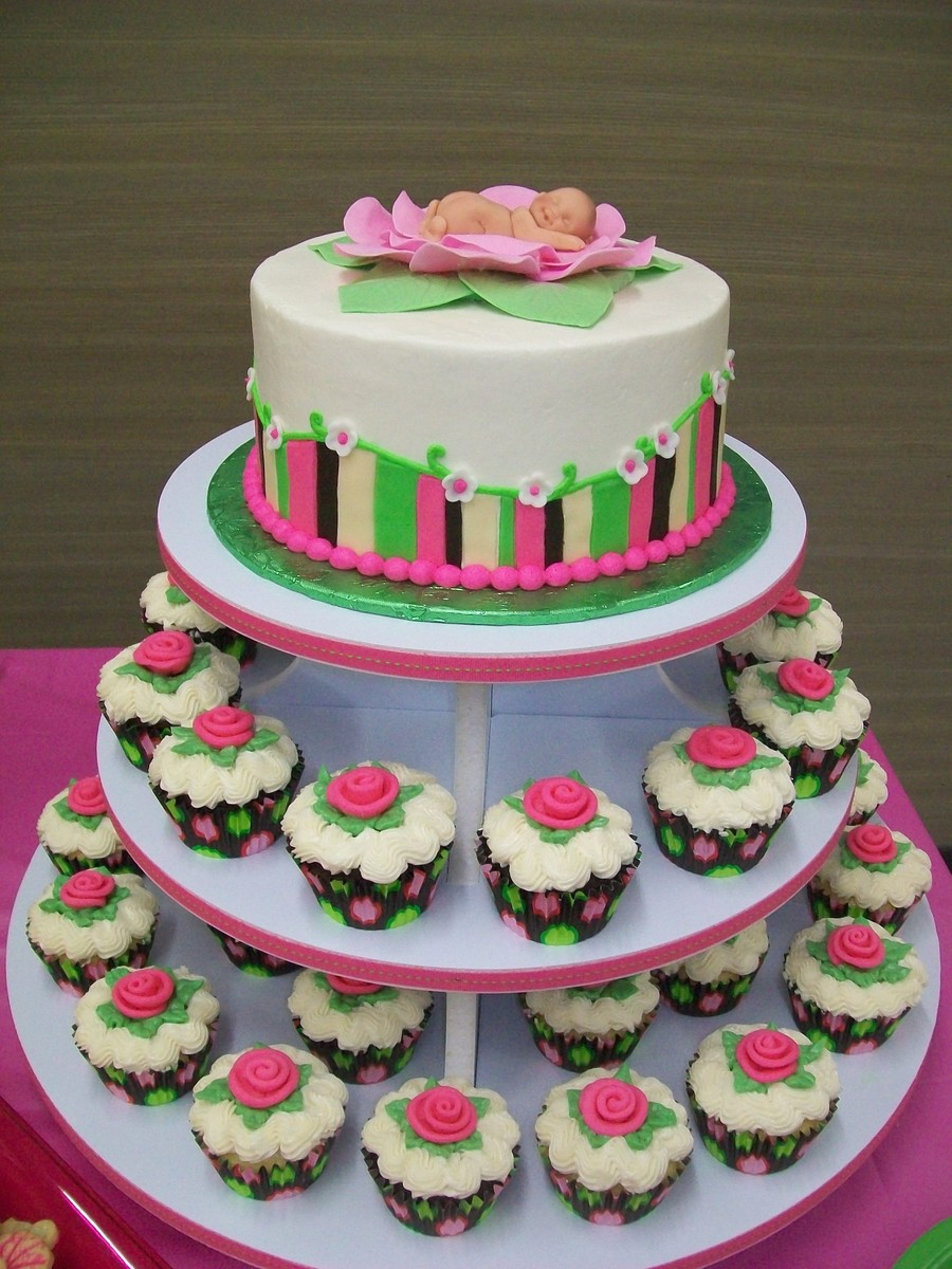8 Round Layer Cake With Cupcakes Buttercream Icing With Fondant Accents on Cake Central