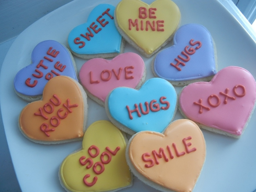 Conversation Heart Cookies on Cake Central