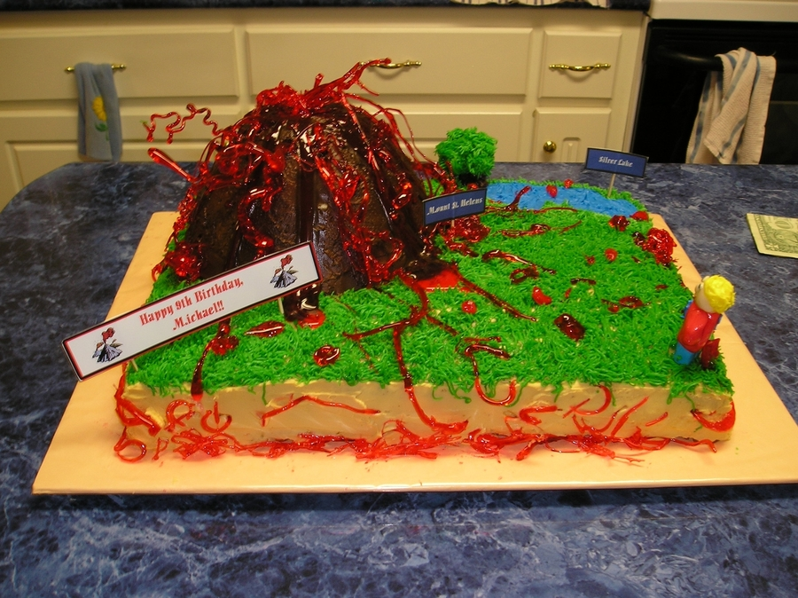 Volcano Birthday Cake on Cake Central