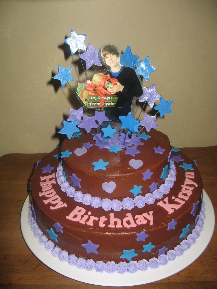 This Niece Likes All Chocolate Chocolate Cake Chocolate Icing Laminated Picture Of Justin Bieber on Cake Central