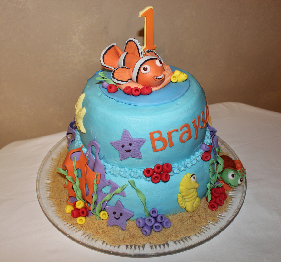 Wondrous Finding Nemo First Birthday Cake For My Great Nephew Cakecentral Com Funny Birthday Cards Online Elaedamsfinfo