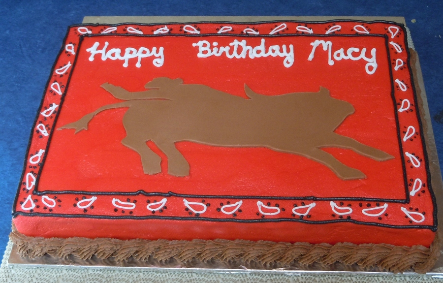 Bucking Bull And Kerchief Cake. on Cake Central