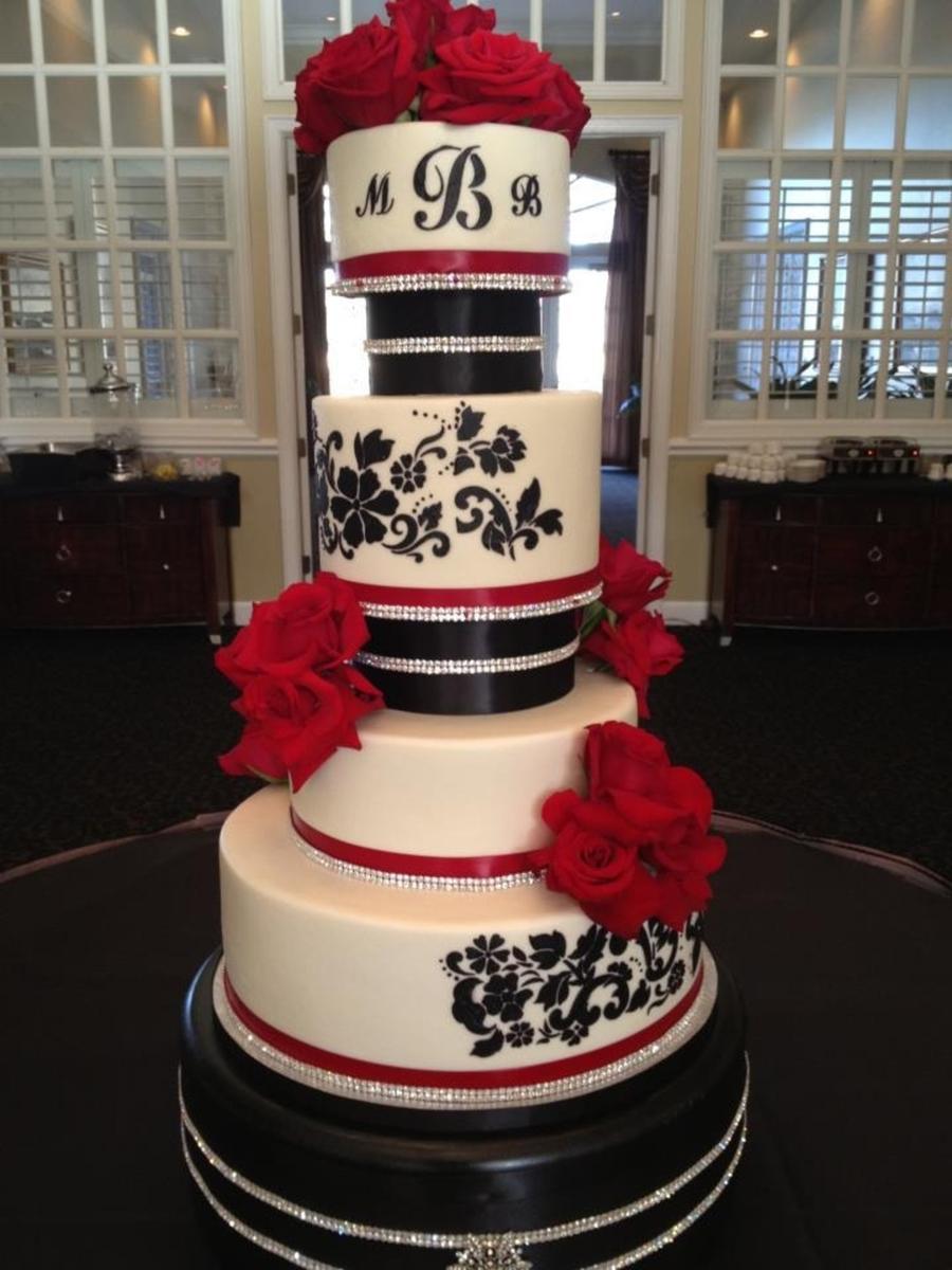 Red Black Wedding Cake CakeCentralcom