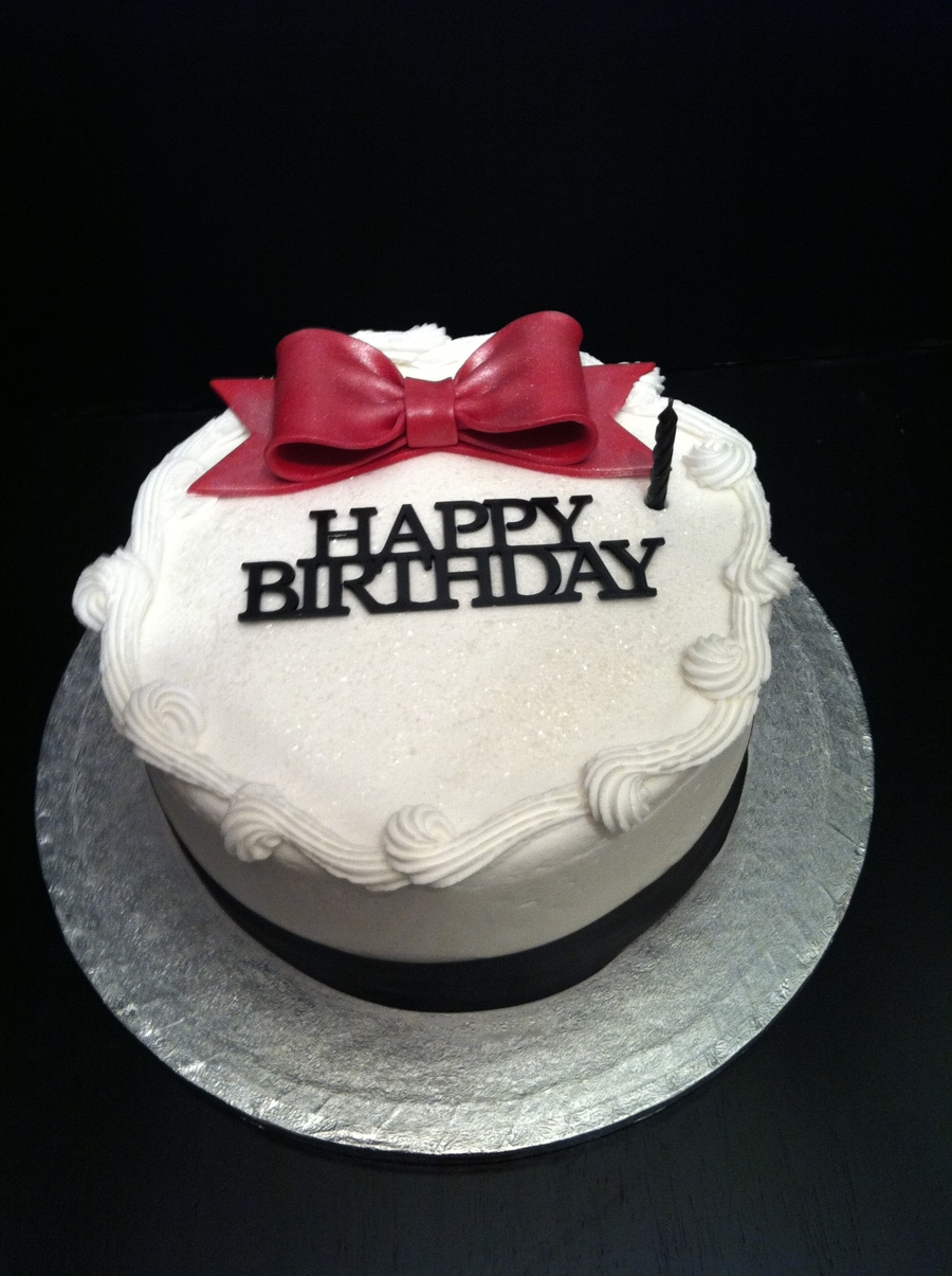 Cake With Red Bow And Black Ribbon on Cake Central