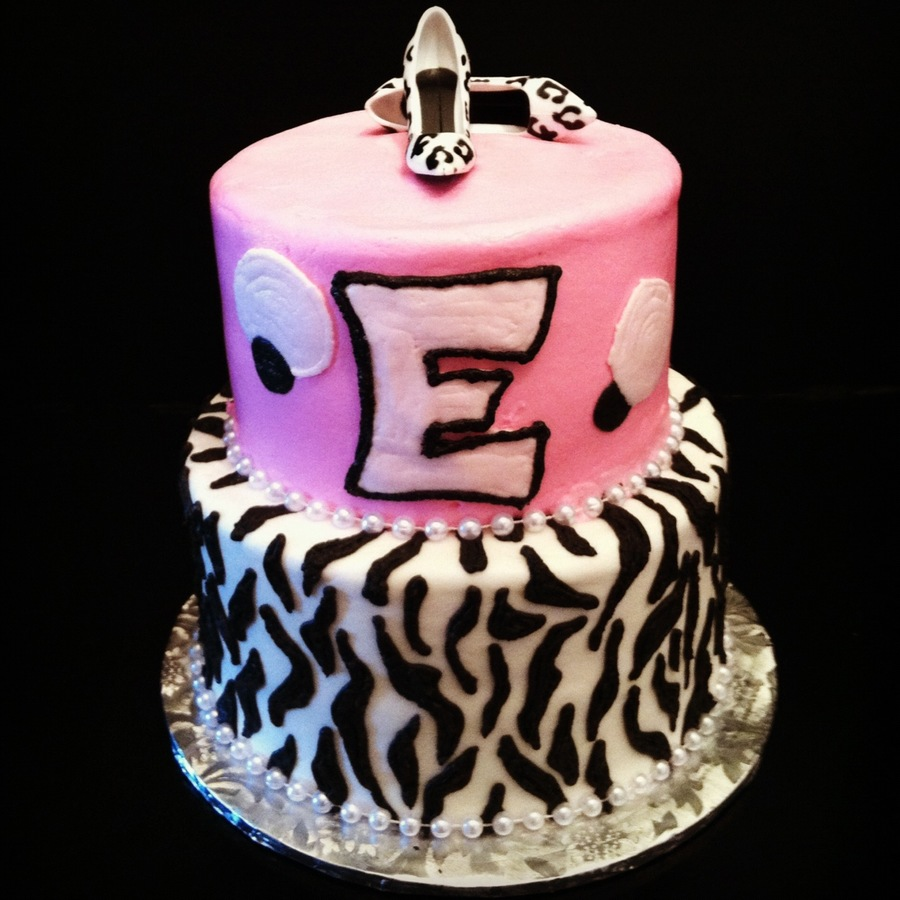 Monogram Zebra Print Cake With Leopard Print Pumps on Cake Central