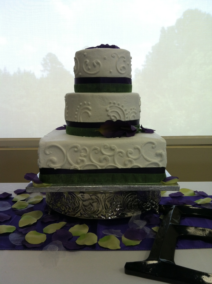 Purple And Green Stack With Calla Lilly on Cake Central
