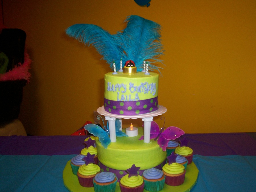 Lime And Purple Feathered Cake on Cake Central