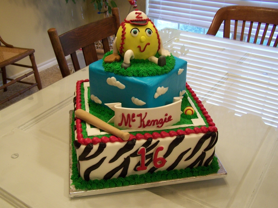 Girl's Zebra Softball Cake on Cake Central