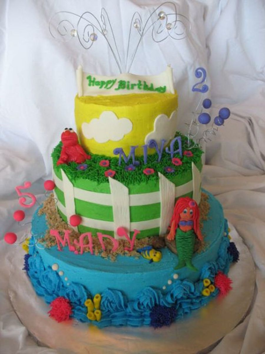 Combination Cake Of Little Mermaid And Elmo on Cake Central