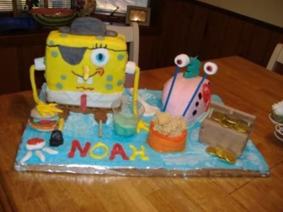 Pirate Spongebob With Gary  on Cake Central
