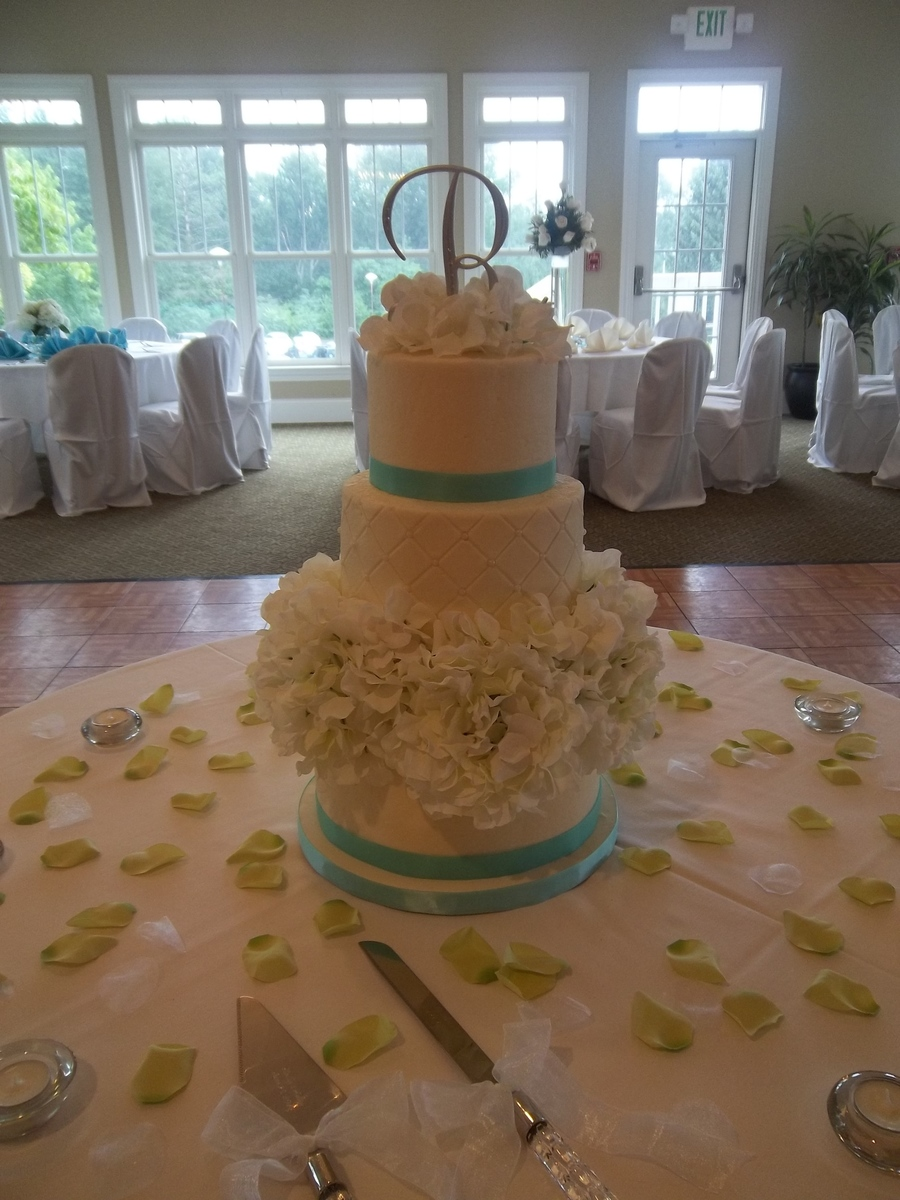 3 Tier Buttercream Frosted Cake Middle Tier Quilted With Pearl Dragees on Cake Central