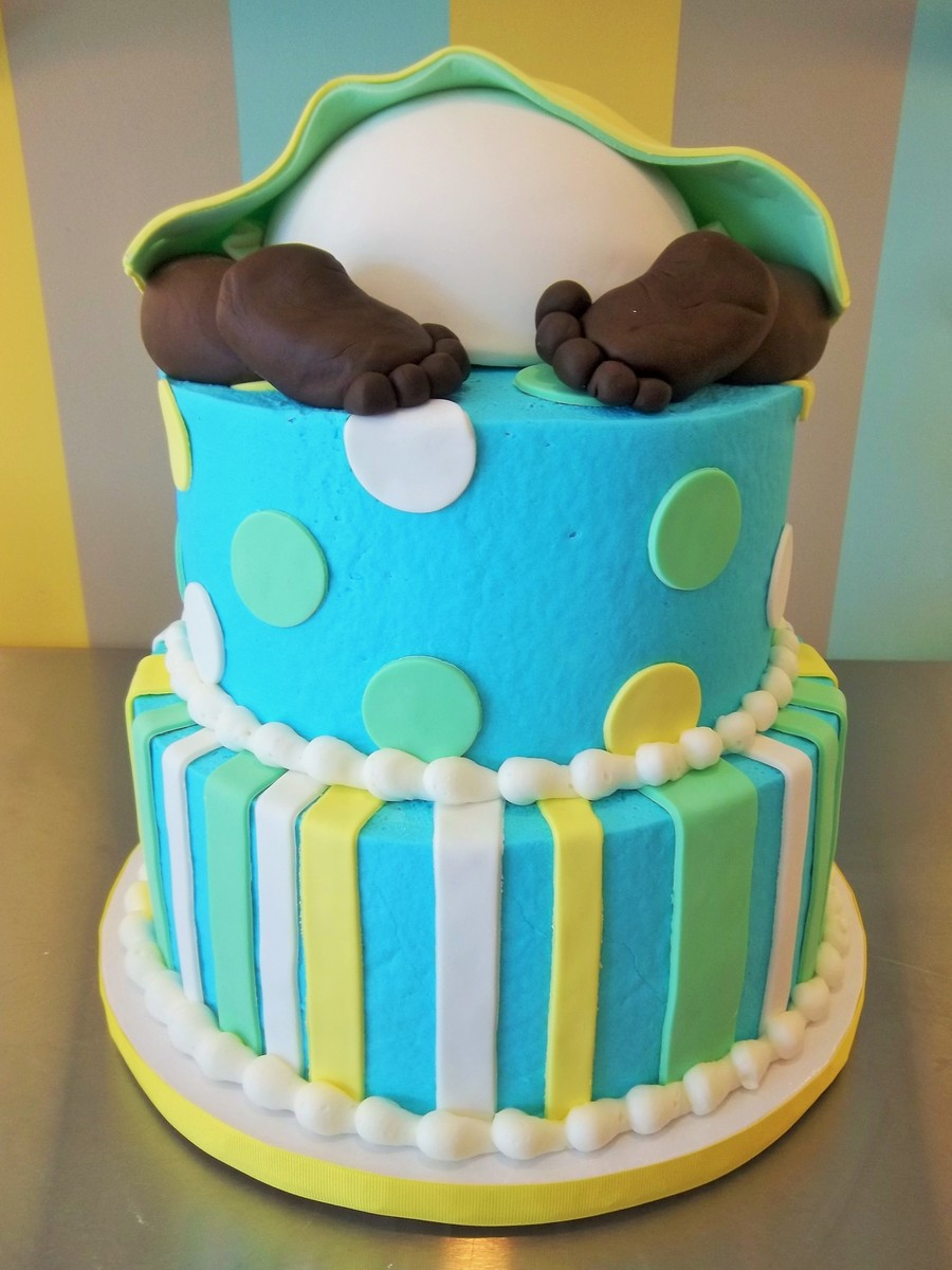 2 Tier Baby Shower Cake With 6 Ball Pan Made Into Baby Diaperwith Fondant Baby Legs And Feet So Fun To Make on Cake Central