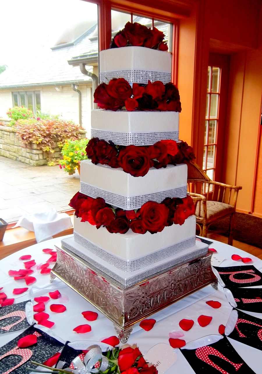 4 Tier Square Buttercream Cake With Fresh Red Roses on Cake Central